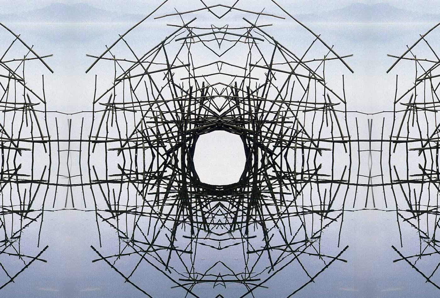 Andy Goldsworthy, Montage by iuri, Sticks Framing a Lake