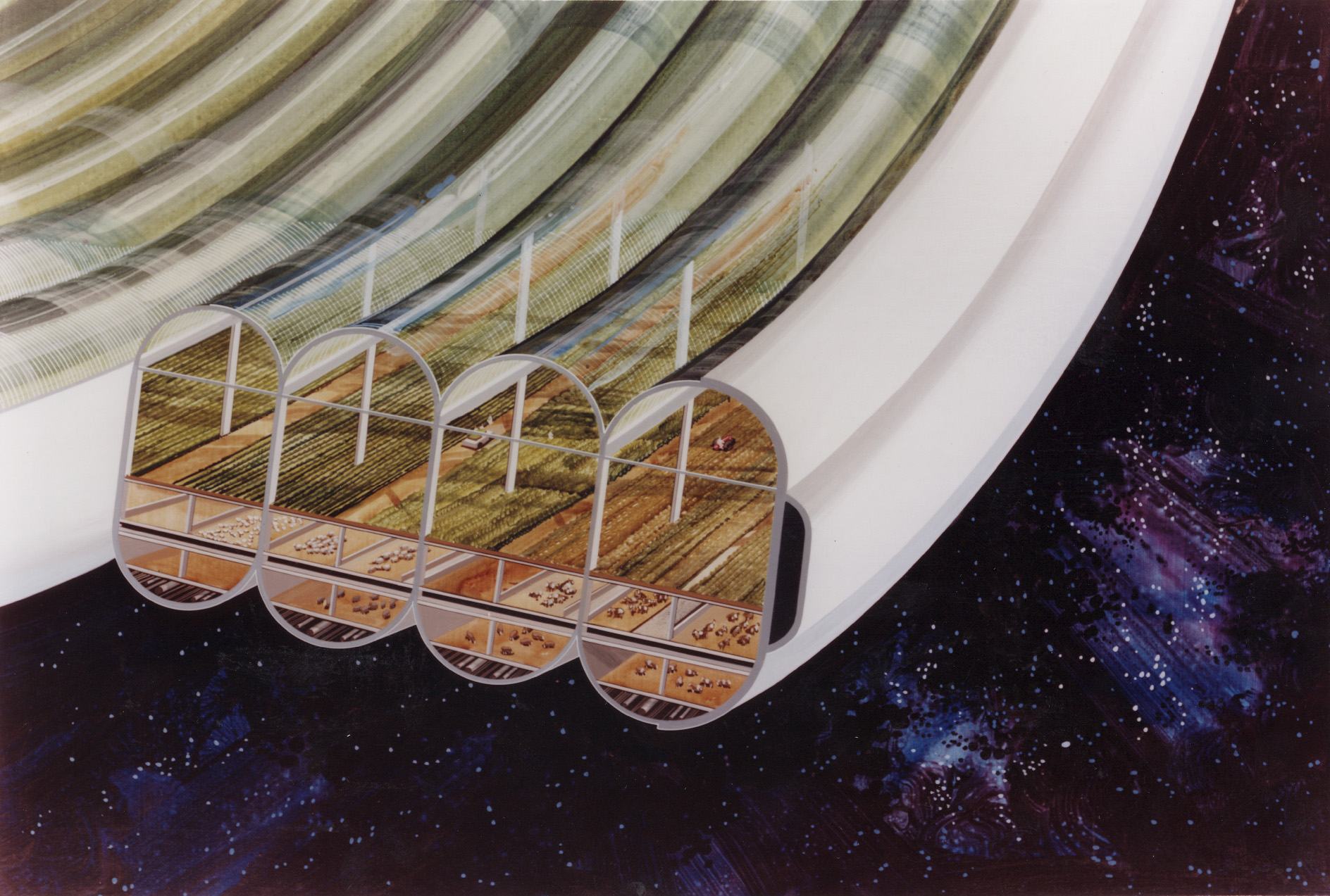 View of Bernal Sphere agricultural module (multiple toroids) with cutaway to expose interior