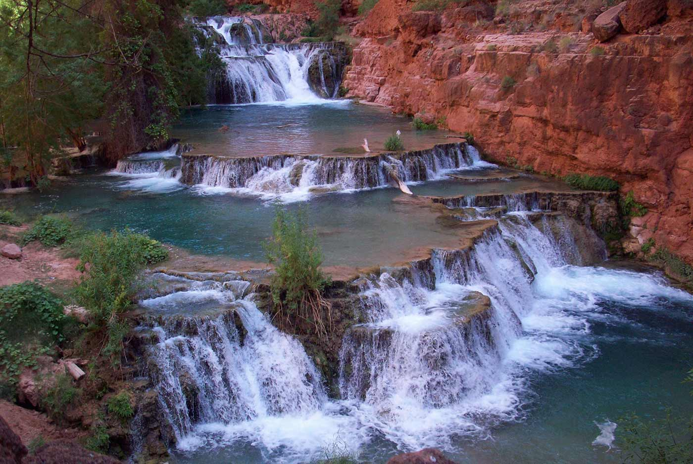 Beaver Falls in the Havasupai reservation in the Grand Canyon.