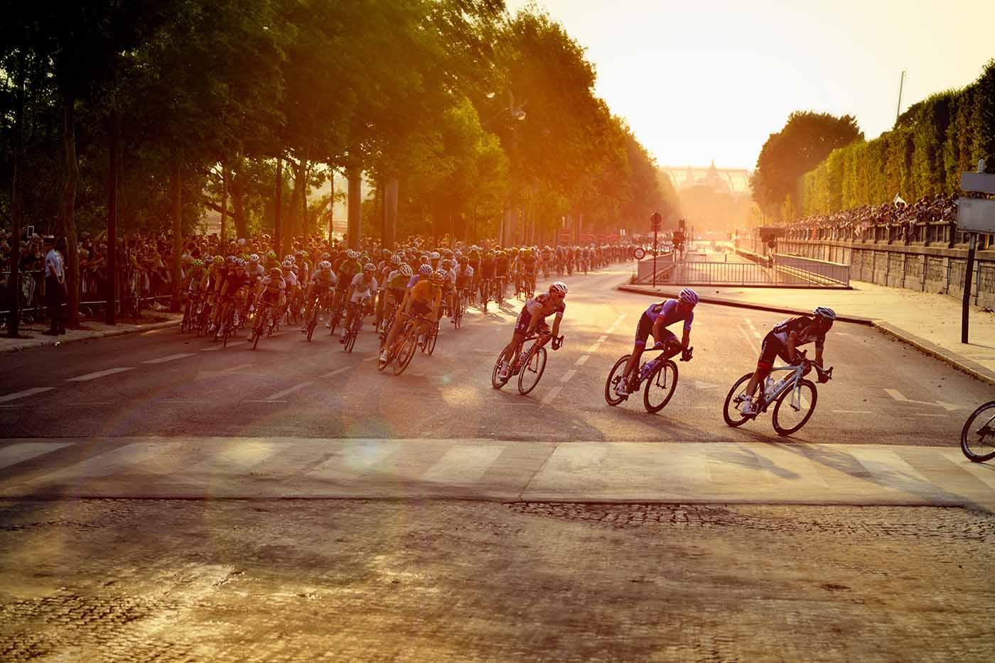 Bikers making a turn