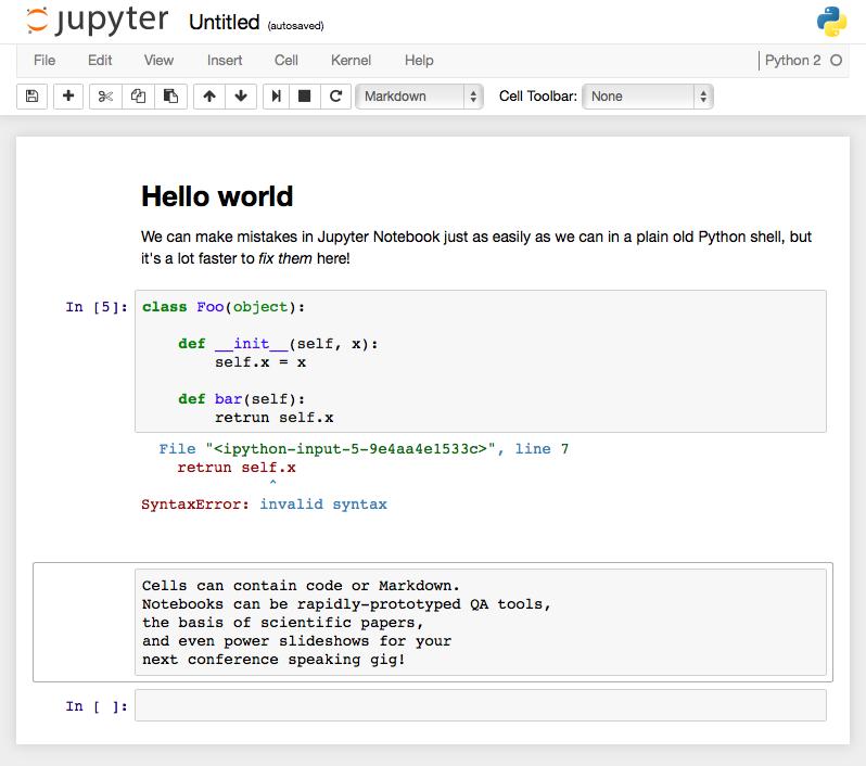 Screenshot of a Jupyter Notebook example