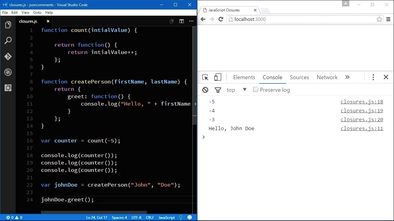 "Screenshot from ""How do JavaScript closures work?"""