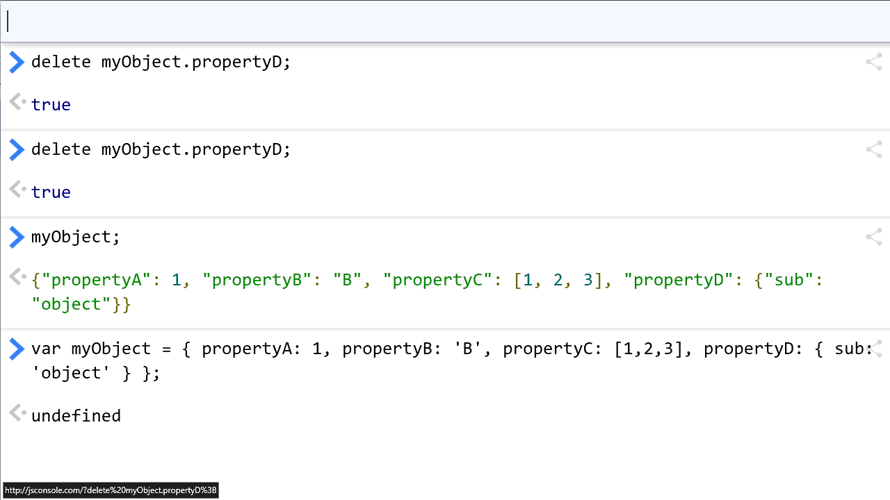 """Screenshot from """"Removing properties from JavaScript objects"""""""