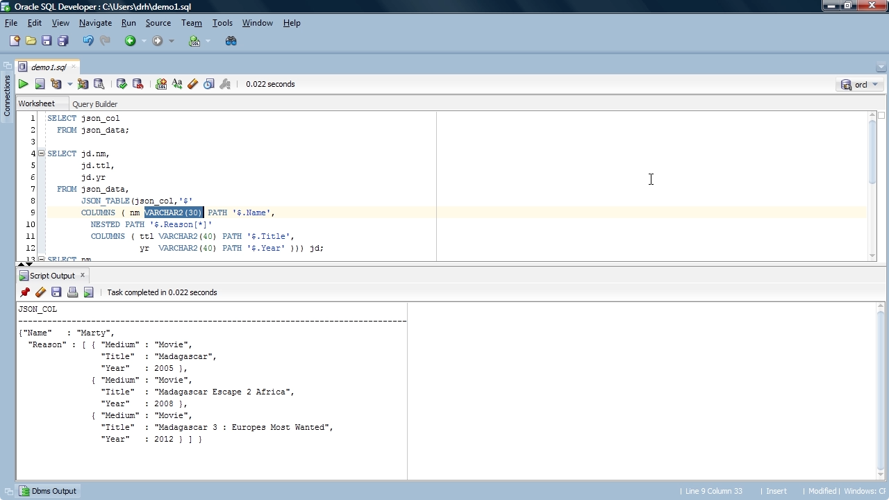 """Screen from """"How do I turn JSON keys and elements into table rows and columns with Oracle SQL?"""""""