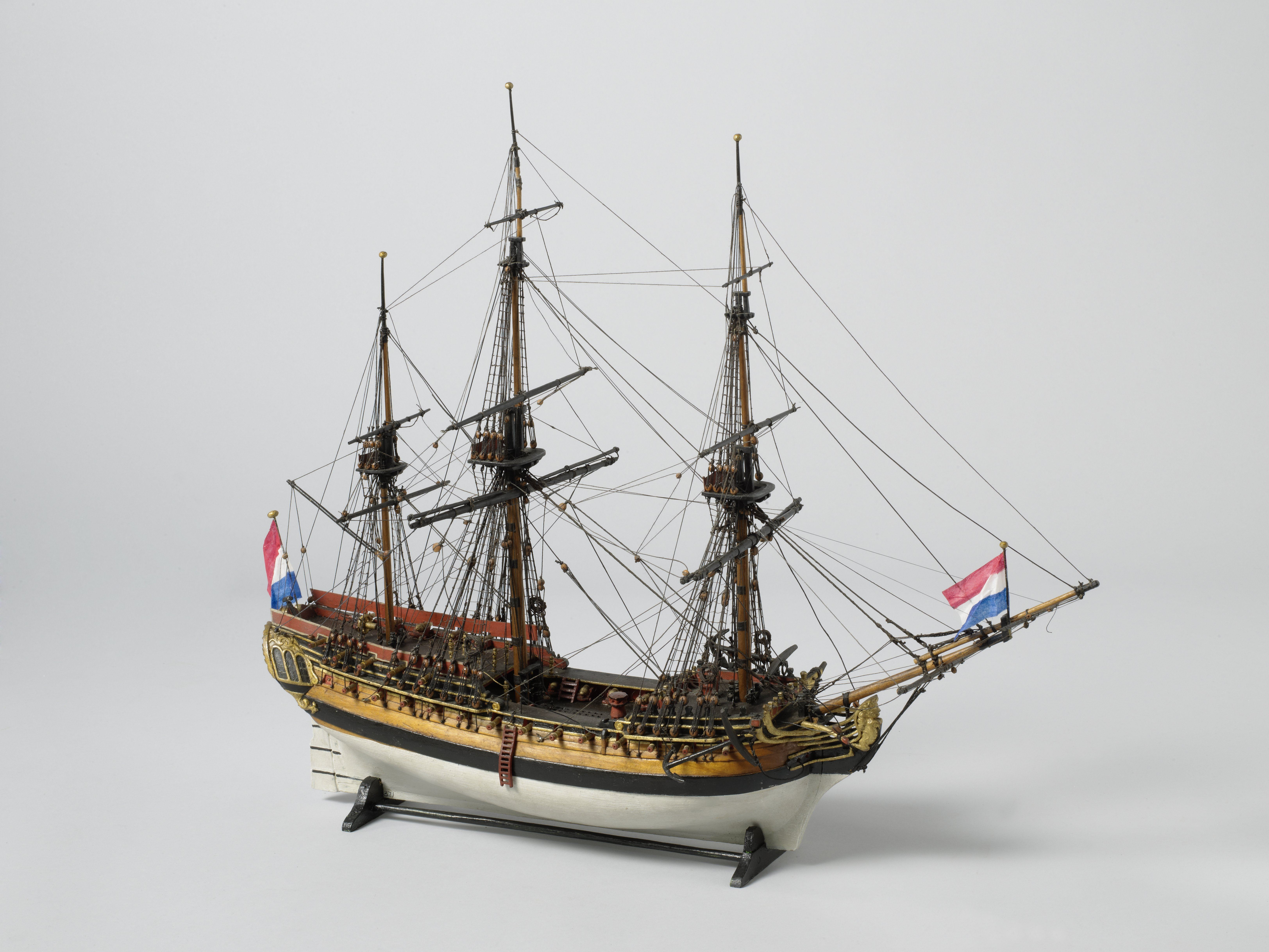 Model of a frigate with 38 pieces, Anonymous, c. 1780 - c. 1830