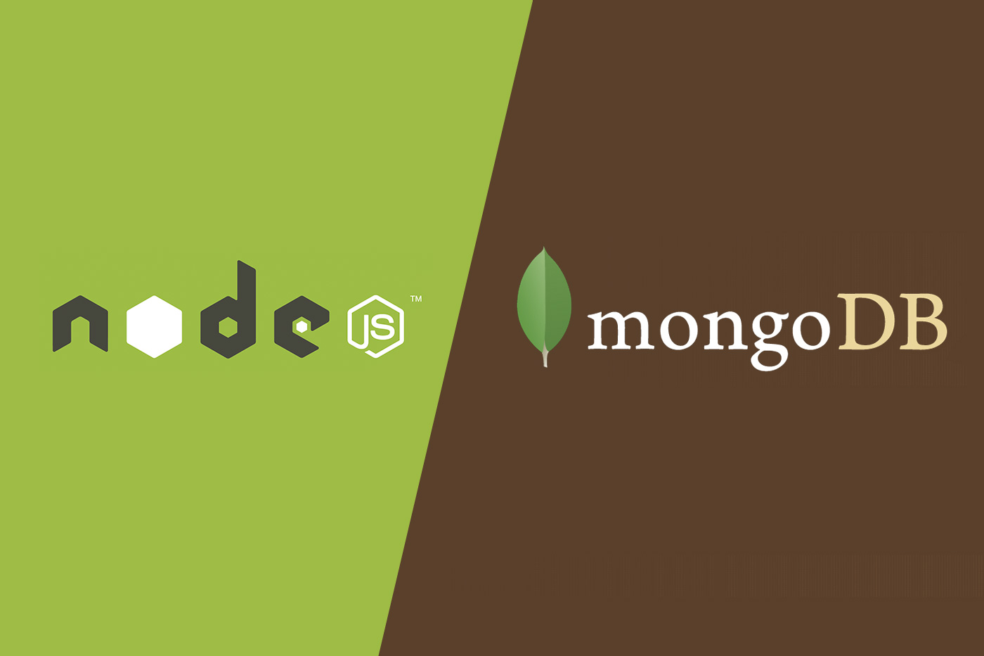 Node.JS and MongoDB logos