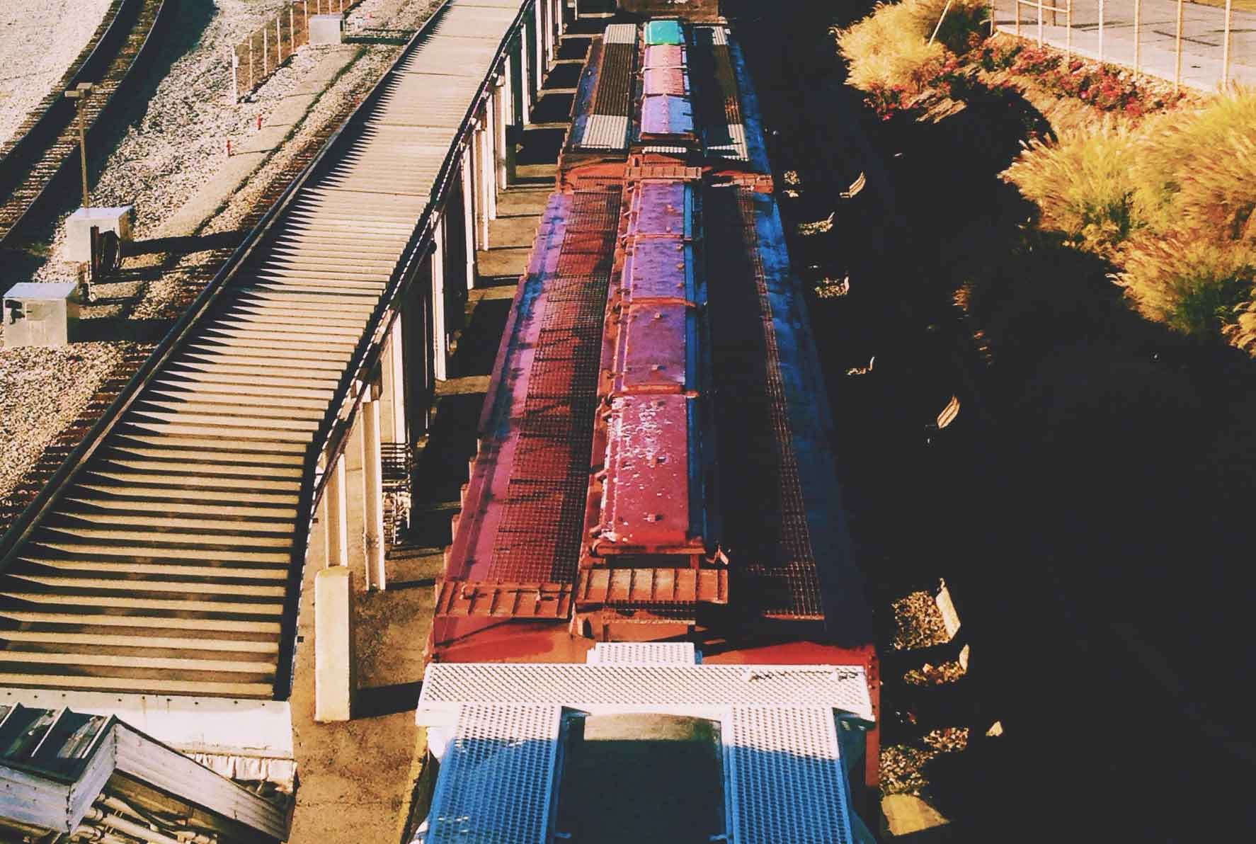 Boxcars on tracks