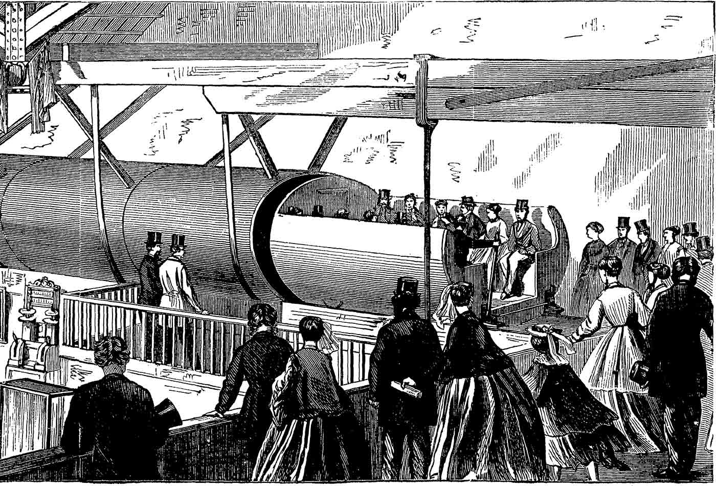 The Pneumatic Passenger Railway, as erected at the American Institute, 1867.