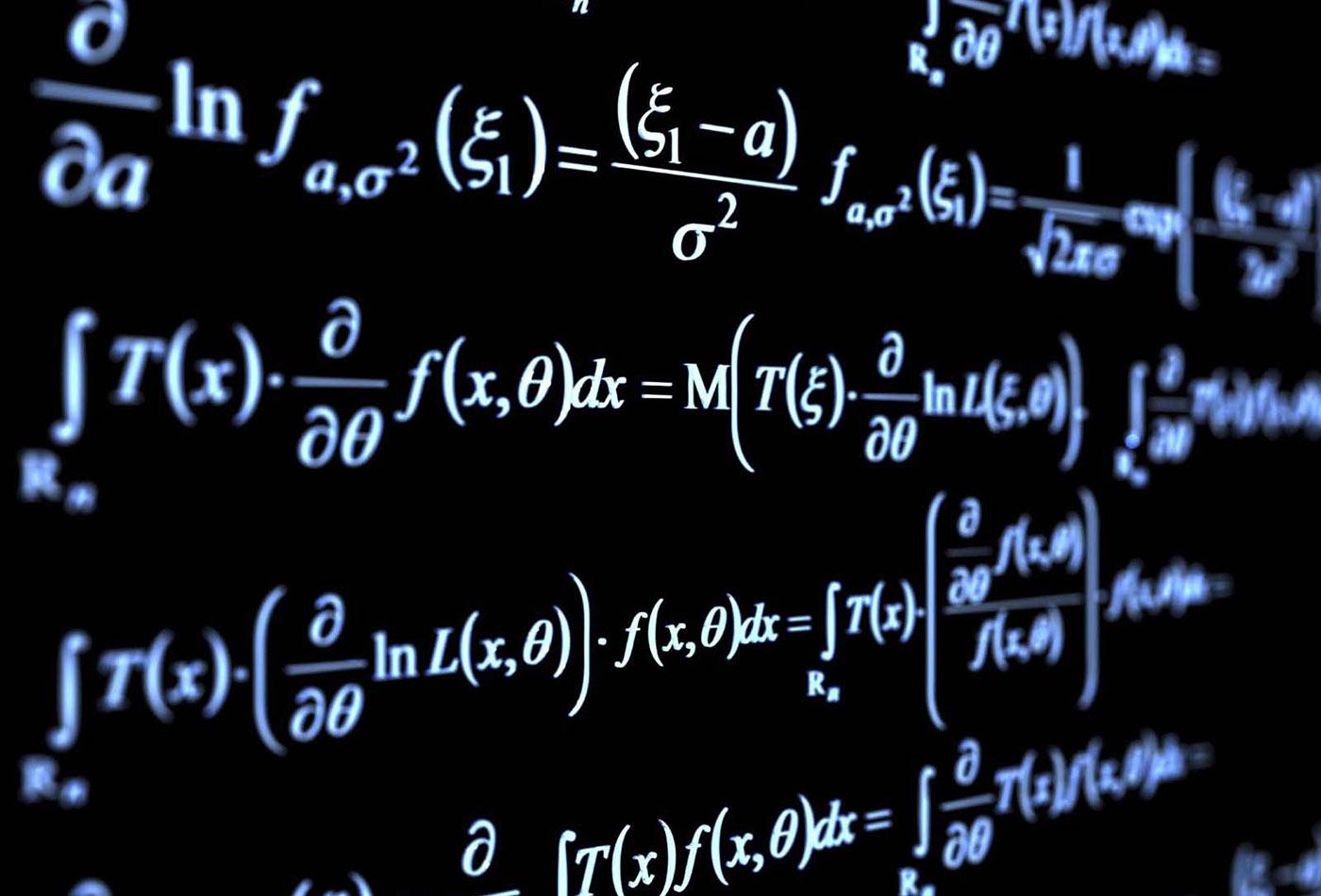 Random mathematical formulæ illustrating the field of pure mathematics.