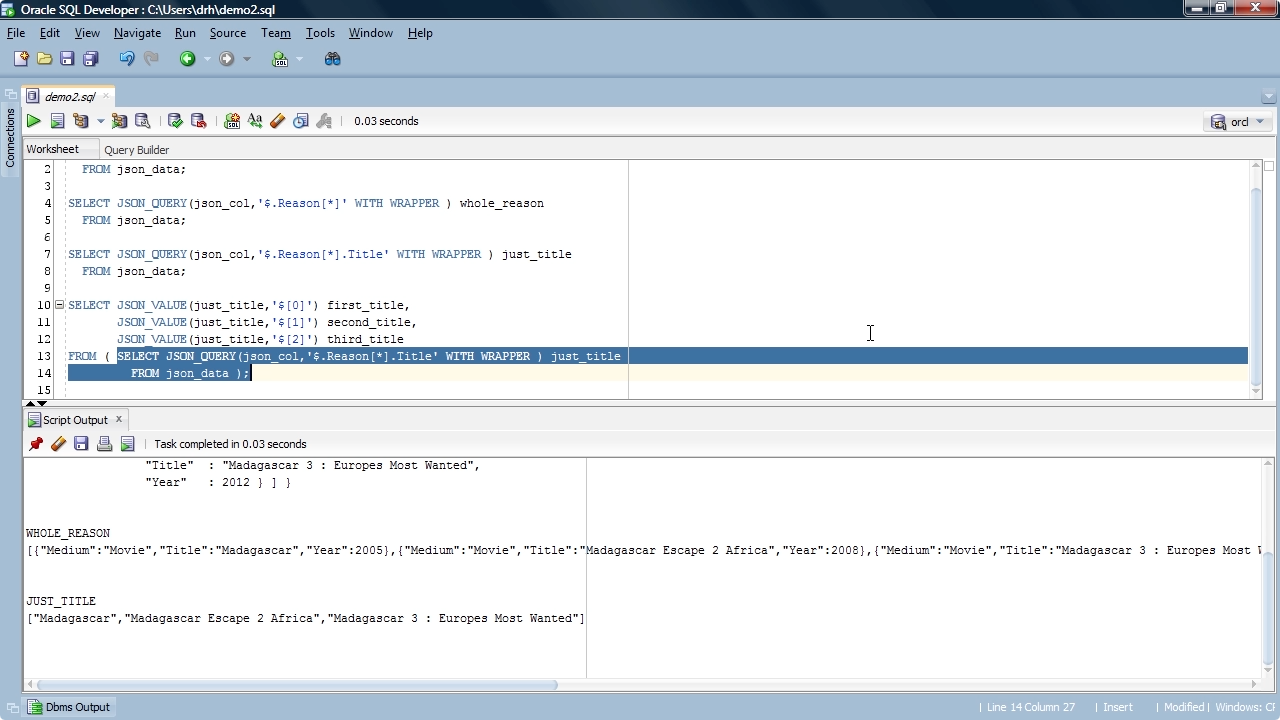 "Screen from ""How do I query for specific JSON elements using Oracle SQL?"""