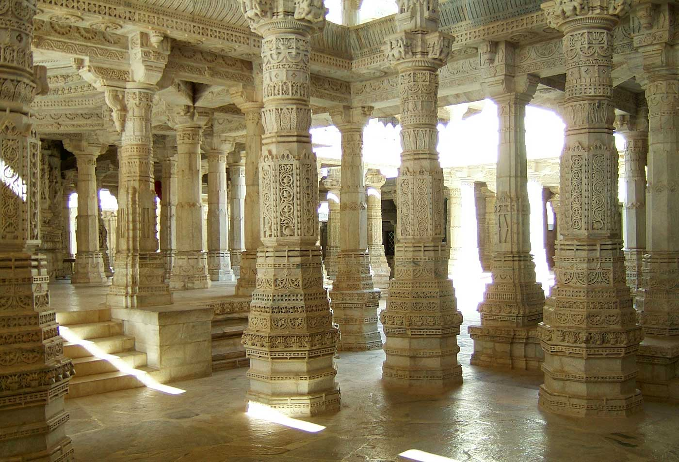 Jain Marble Temple pillar Frescoes, Ranakpur, Pali district, India