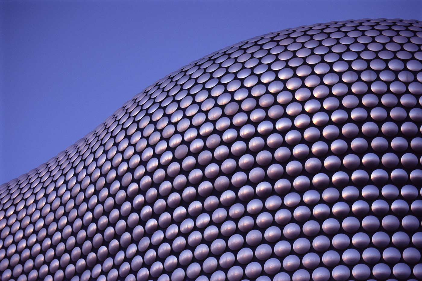 Close up on the cladding of the Selfridges Building at Birmingham Bullring Shopping Center.