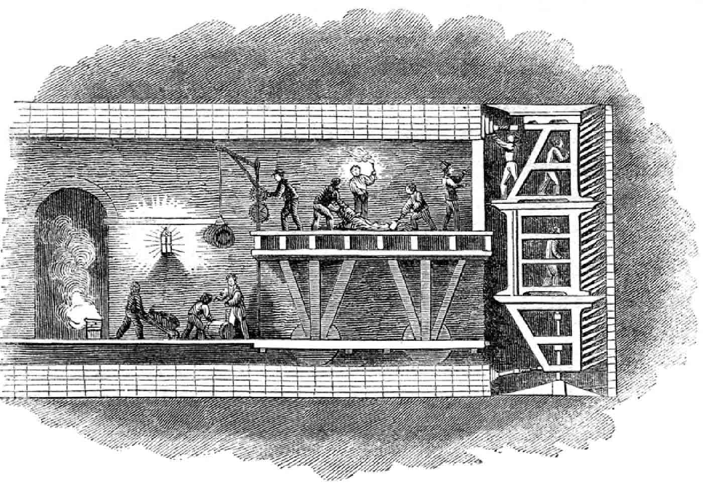 Diagram of the tunnelling shield used to construct the Thames Tunnel, London.