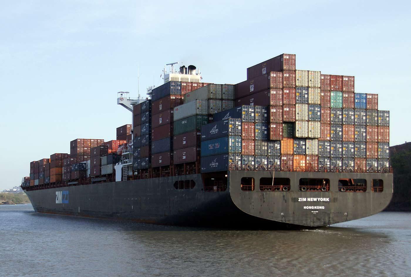 Container ship ZIM, New York, Miraflores Locks, Panama Canal.
