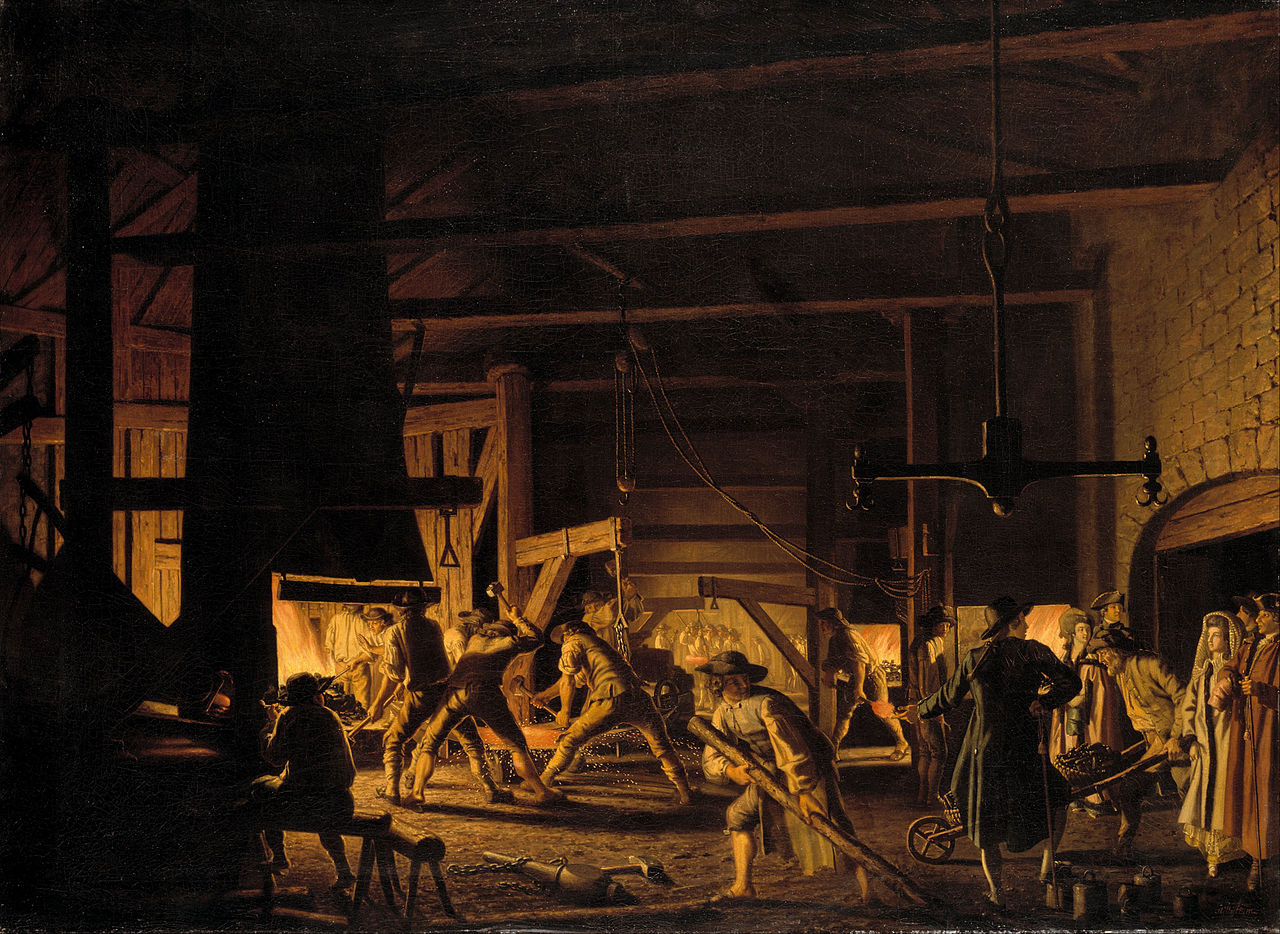 """Pehr Hilleström, """"In the Anchor-Forge at Söderfors. The Smiths Hard at Work"""""""