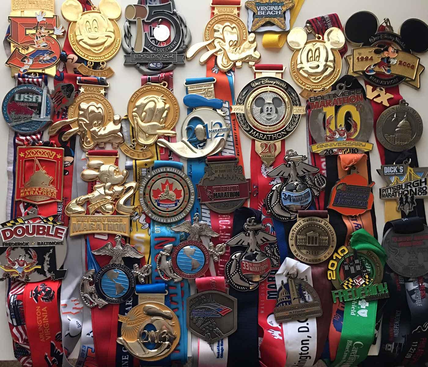 marathon, half marathon, and goofy medals