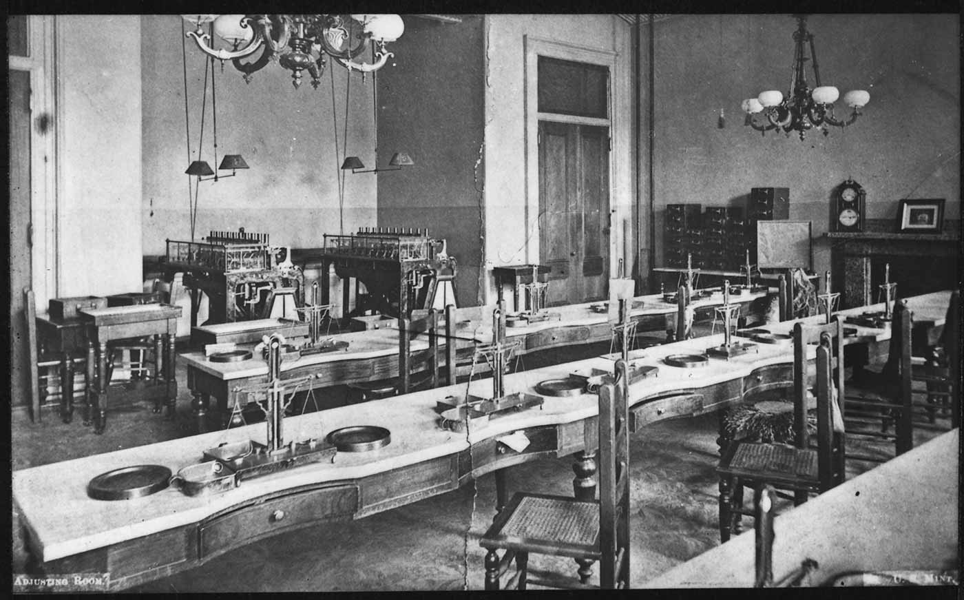 Photograph of the San Francisco Mint Coin Adjusting Room.