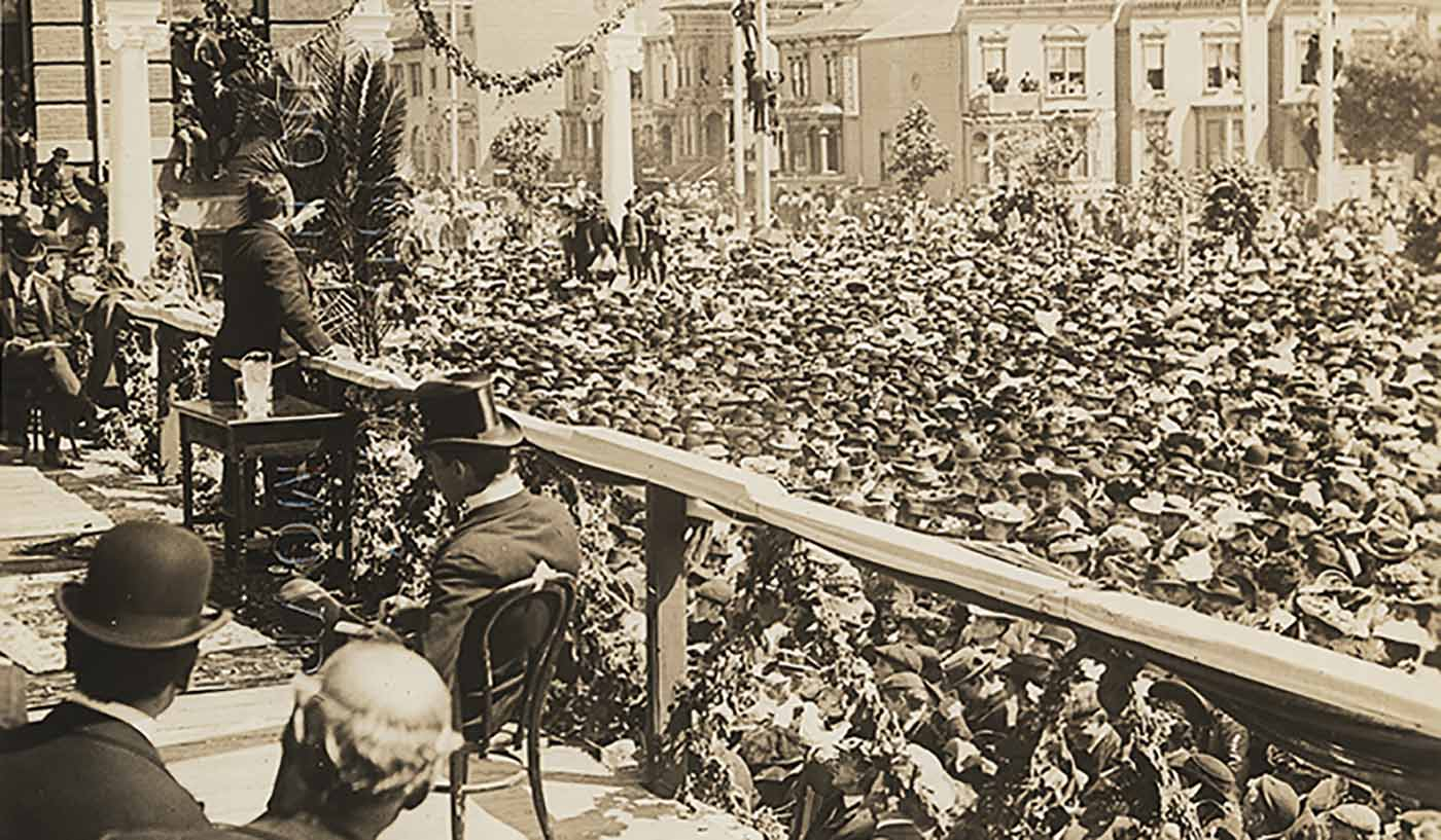 President Theodore Roosevelt Speaking at Oakland, California.