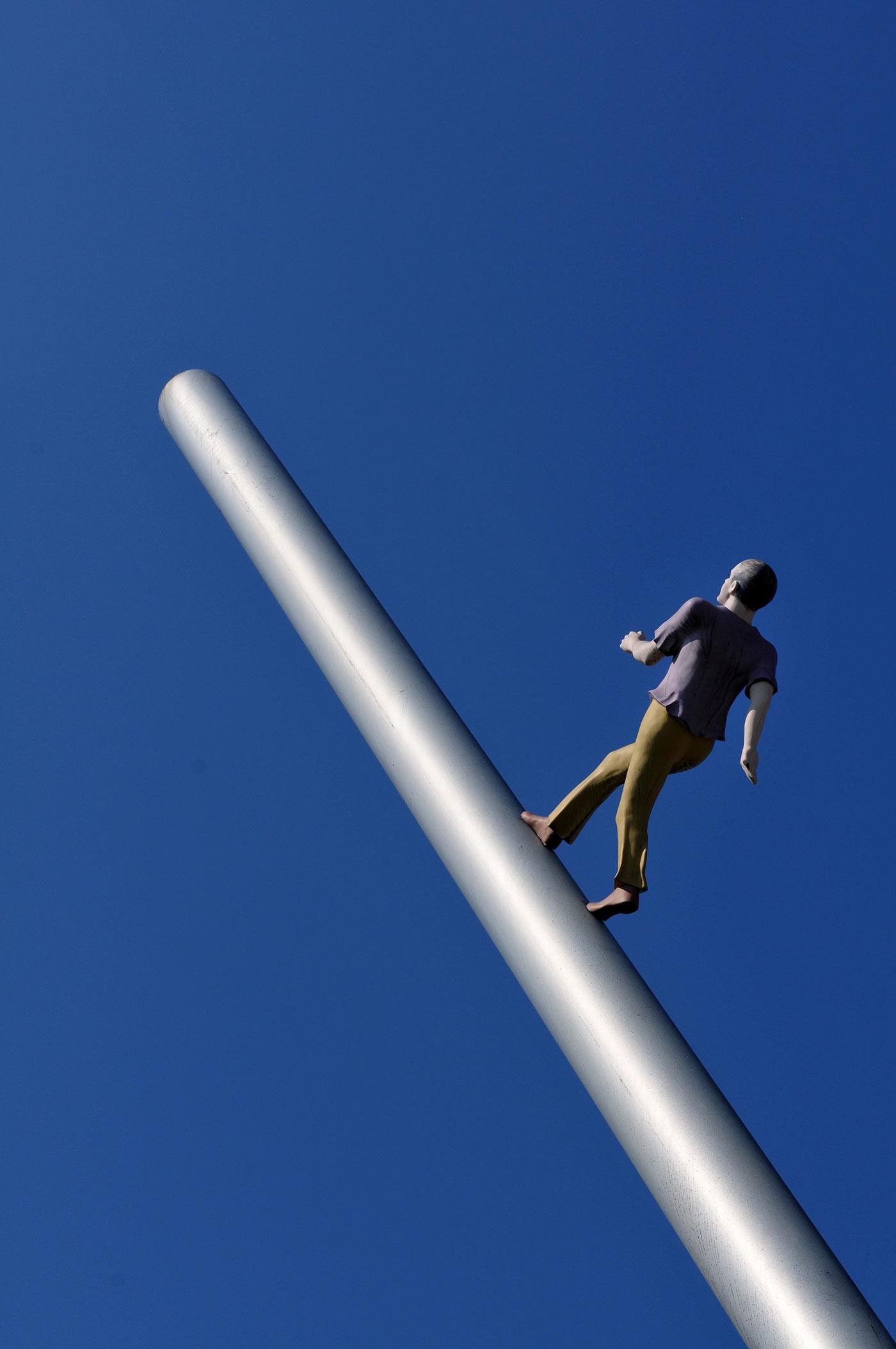 "Sculpture ""Man walking to the sky"" in Kassel, Germany."