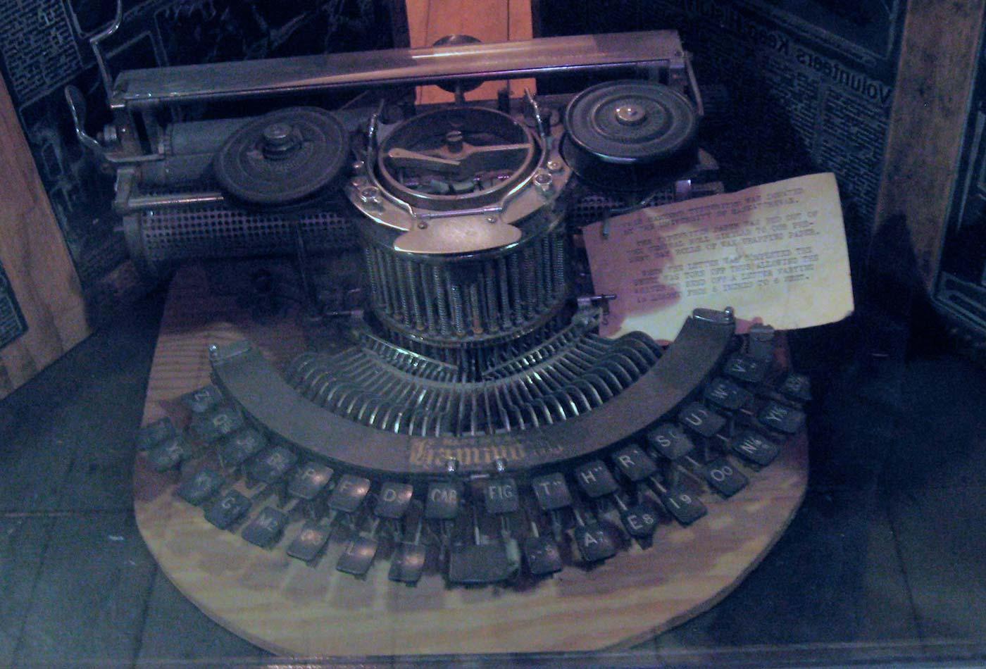 Hammond Model 1B typewriter from a Saskatoon newspaper around 1910, shot at Western Development Museum, Saskatoon, Canada.