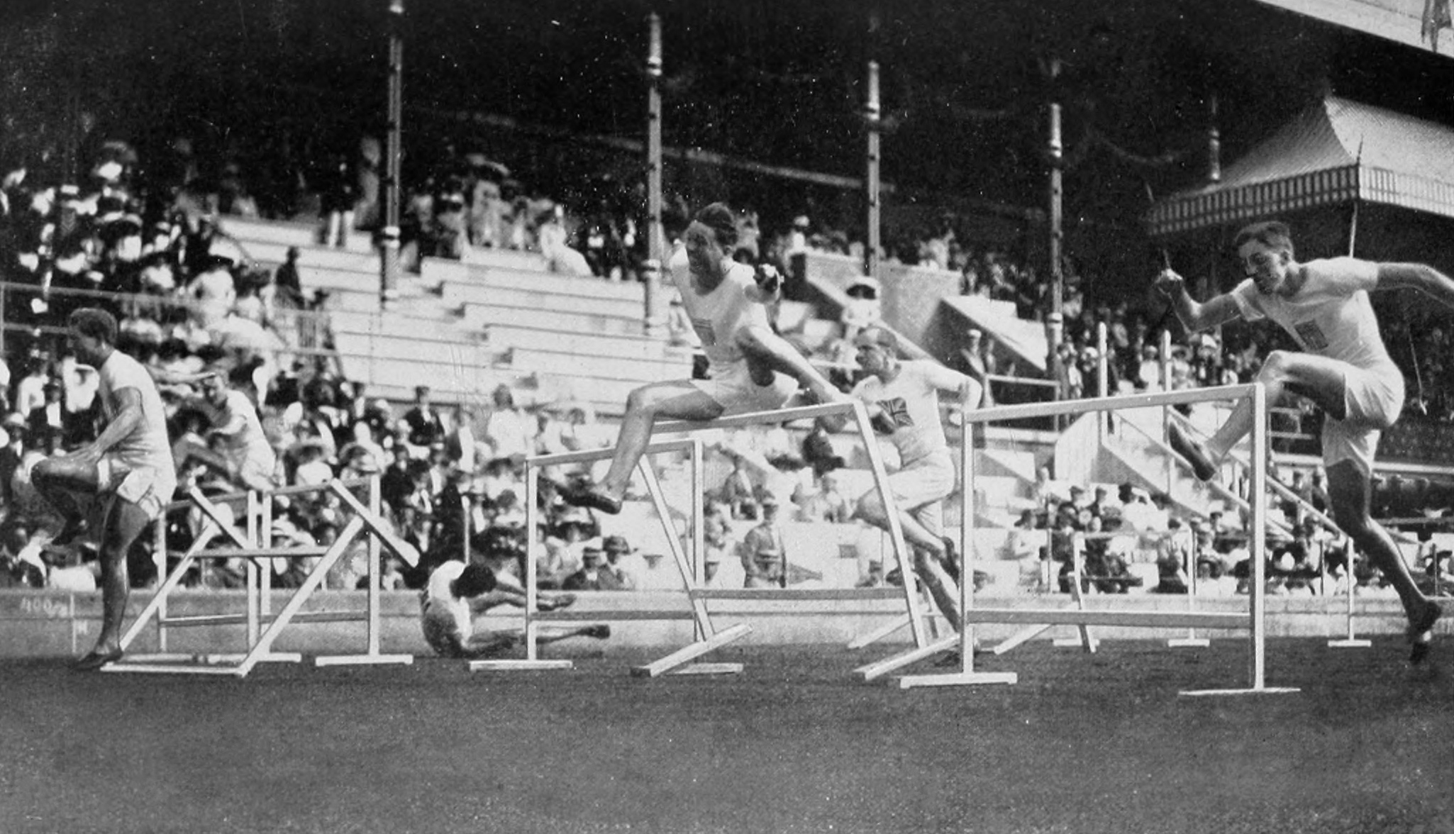 The final of the men's 110 metre hurdles at the 1912 Summer Olympics.