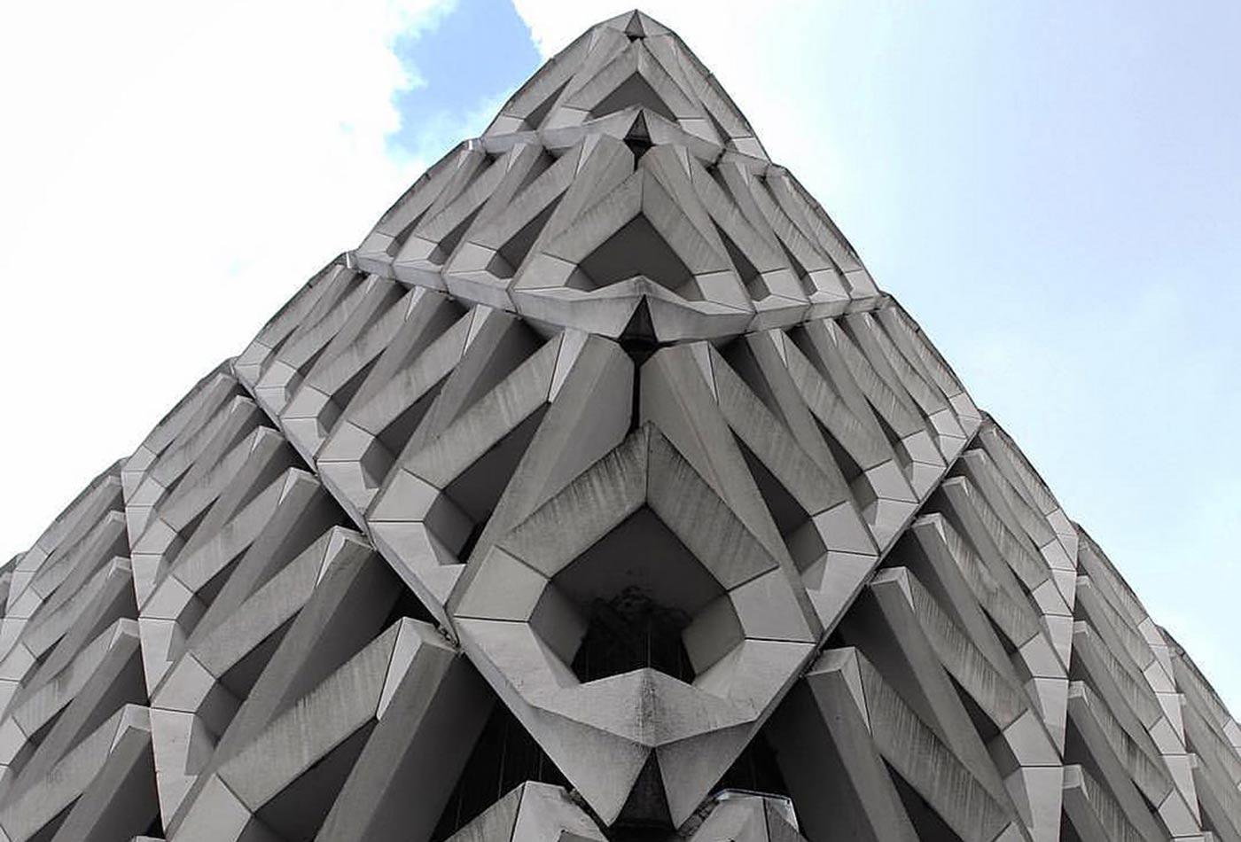 Interlocked concrete polygons.