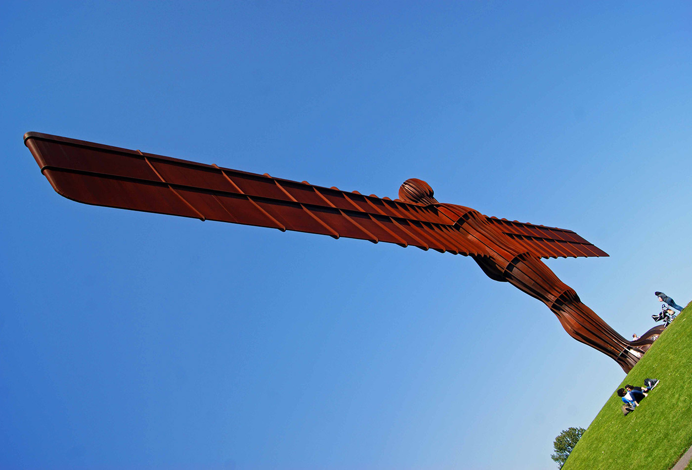 The angel of the north in Gateshead measures 20 metres tall and 54 metres across.