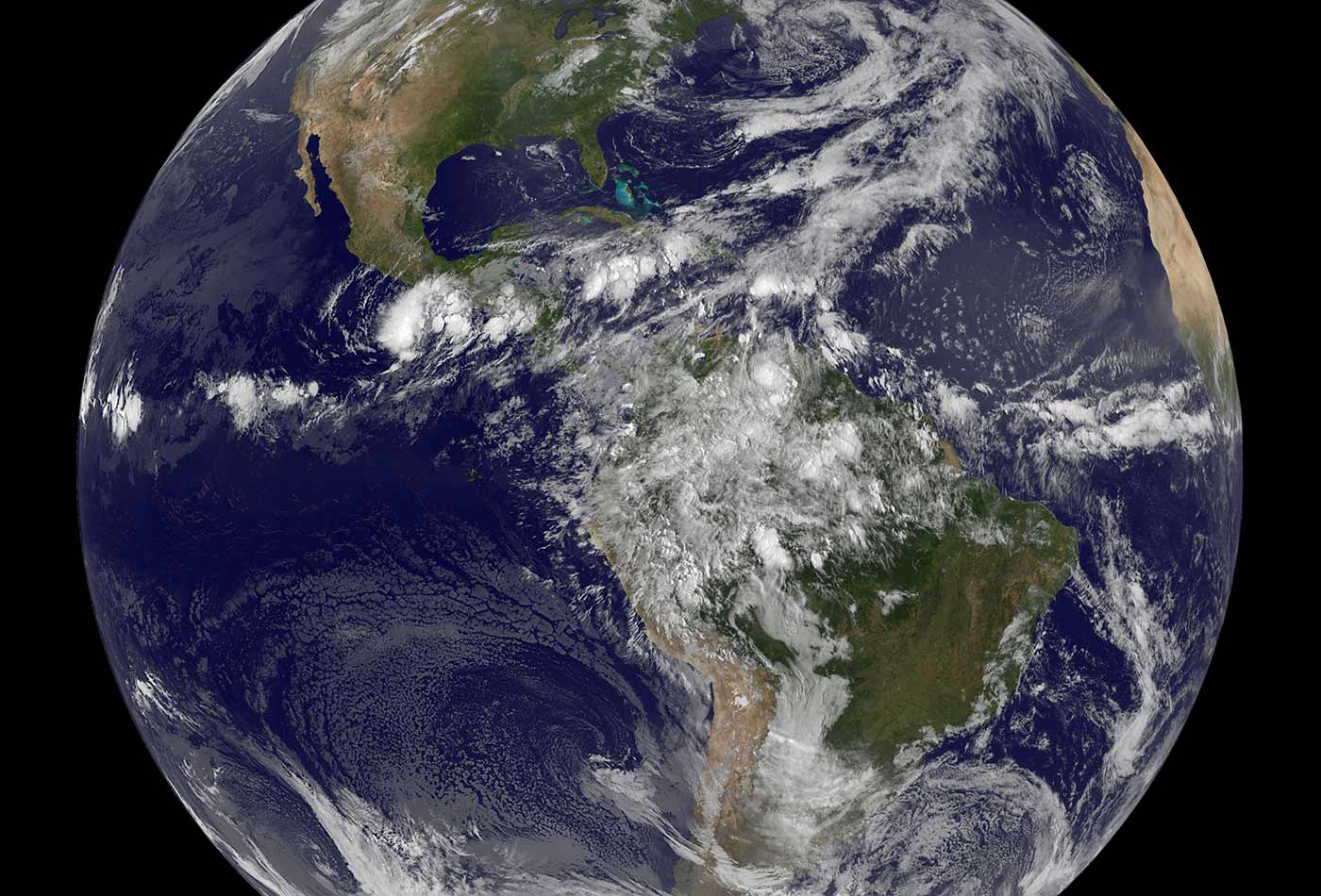 NASA GOES-13 Full Disk view of Earth.