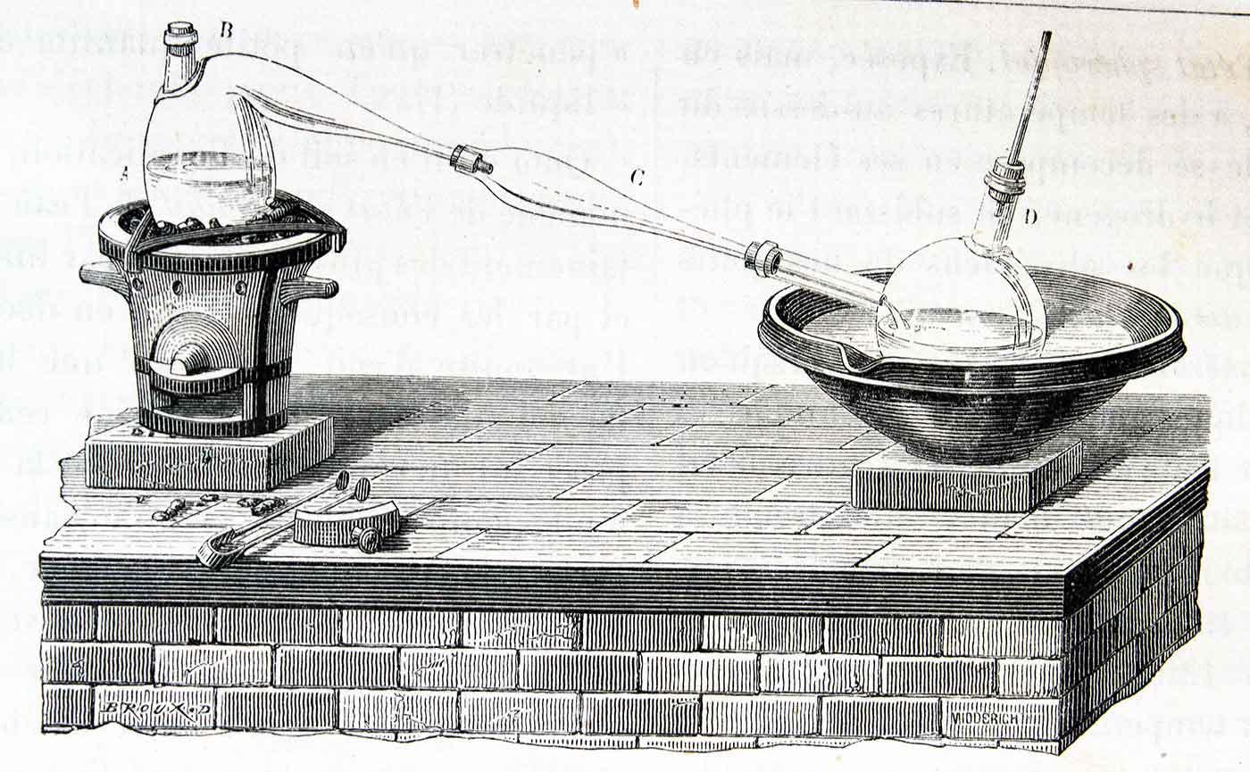 """""""Distillation de l'eau à la cornue"""""""