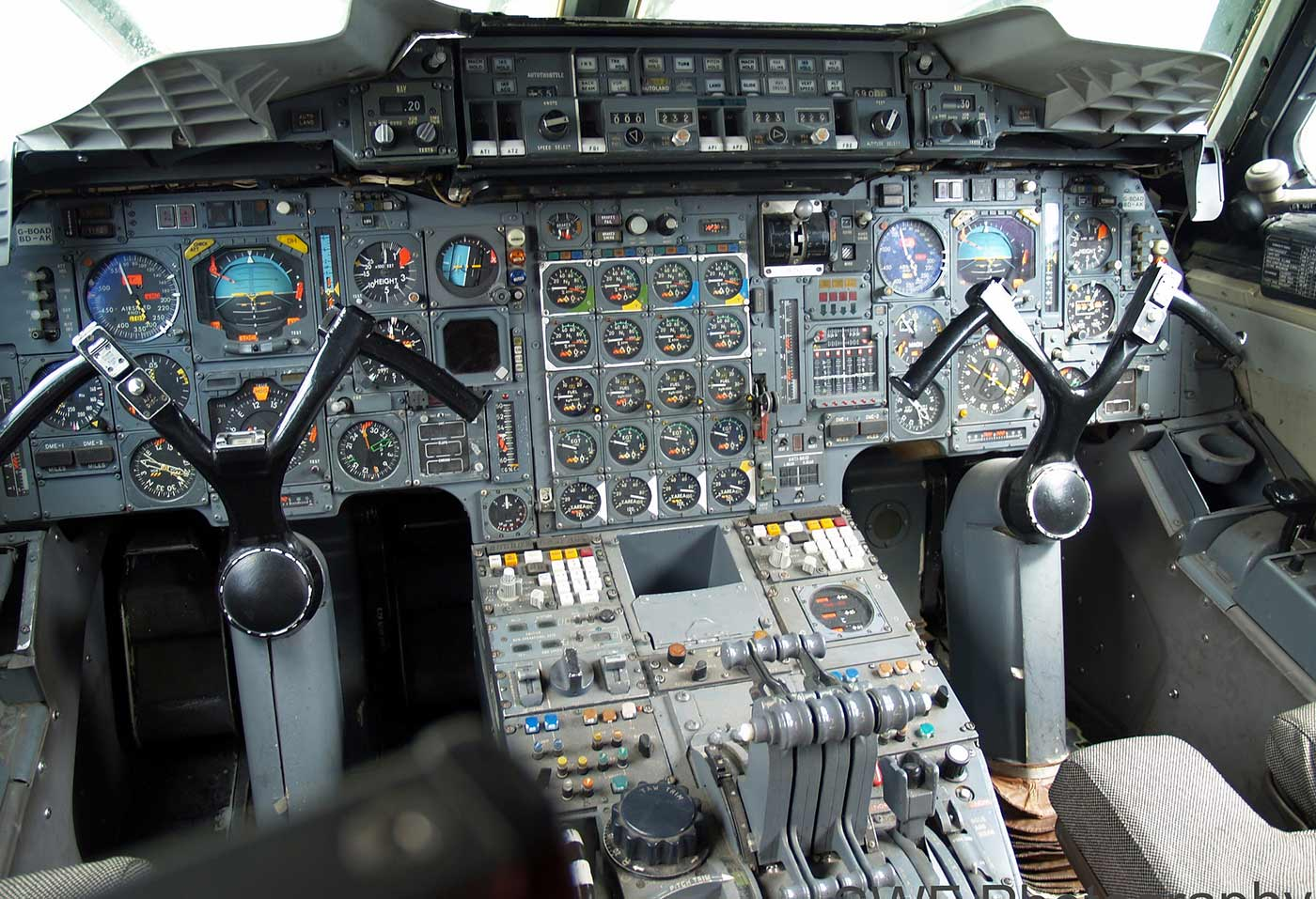 The cockpit of the Concorde SST (tail number G-BOAD).