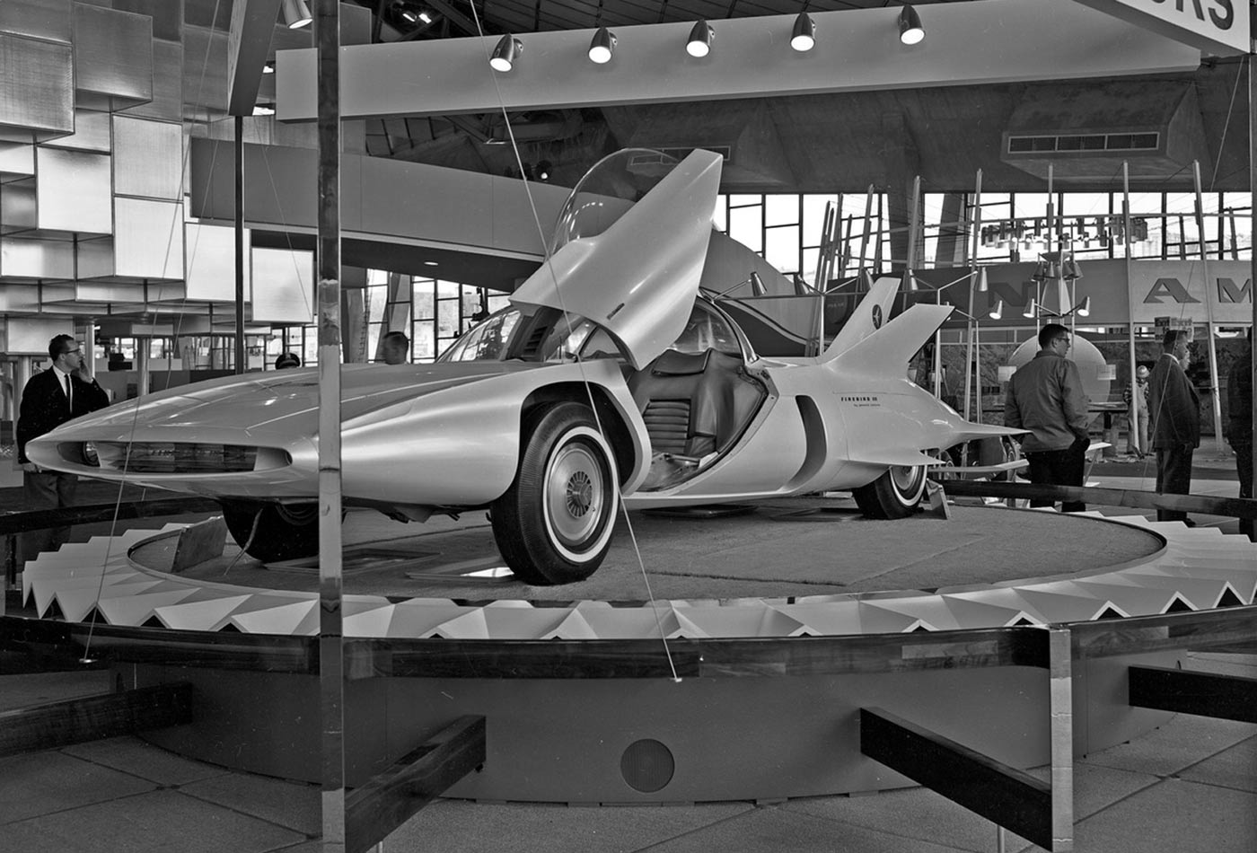 """During the 1950s and '60s, General Motors showcased the Firebirds, a series of experimental cars described to have an """"electronic guide system [that] can rush it over an automatic highway while the driver relaxes."""" This is the Firebird III, displayed at the 1962 World's Fair."""