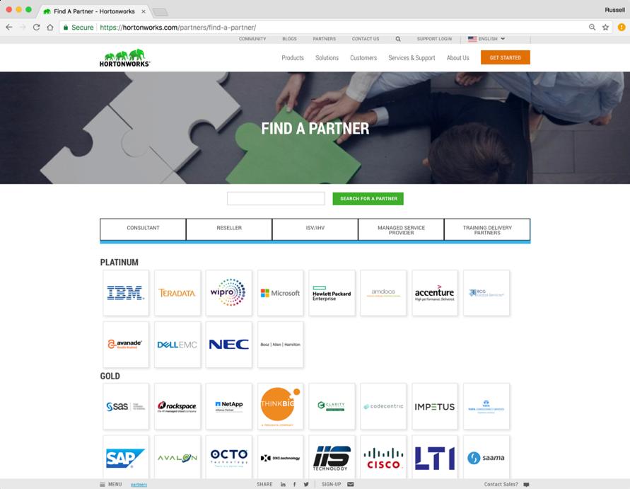 Hortonworks' partnership page