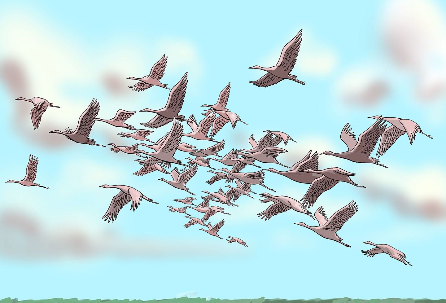 A large flock of identical flying cranes.