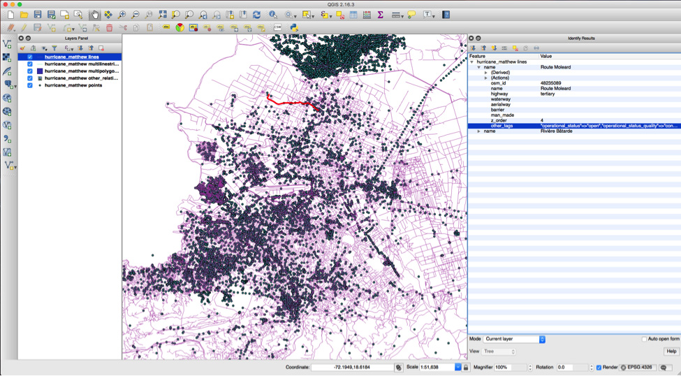 Geospatial data entered by contributors to the Humanitarian OpenStreetMap Team