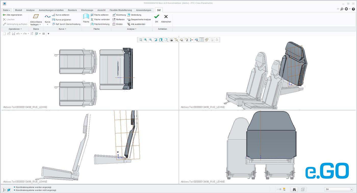 PTC Creo ISDX tool showing the car's seats