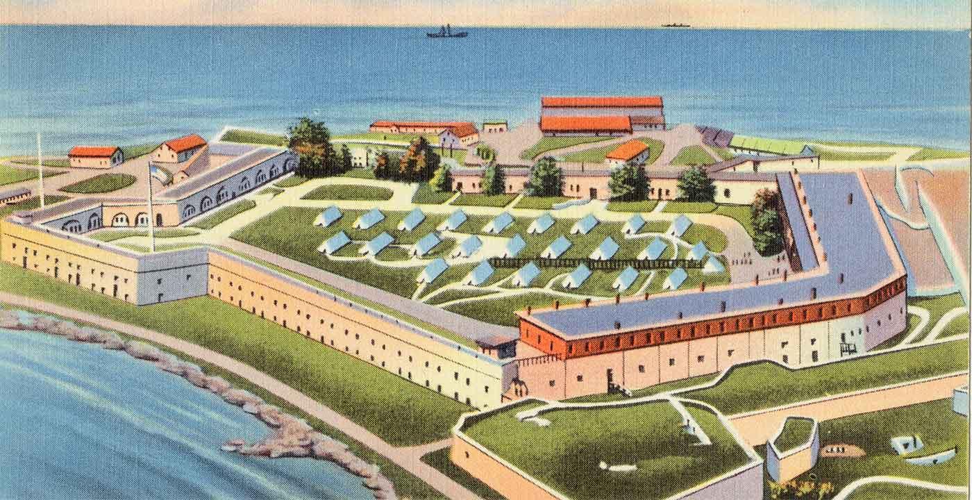 Aerial view of Fort Adams in Newport, RI