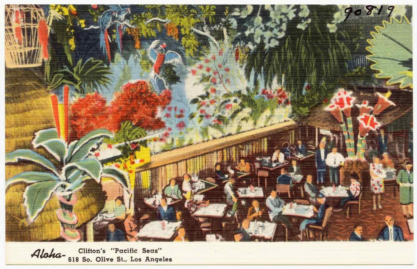 "Aloha- Clifton's ""Pacific Seas,"" 618 So. Olive St., Los Angeles."