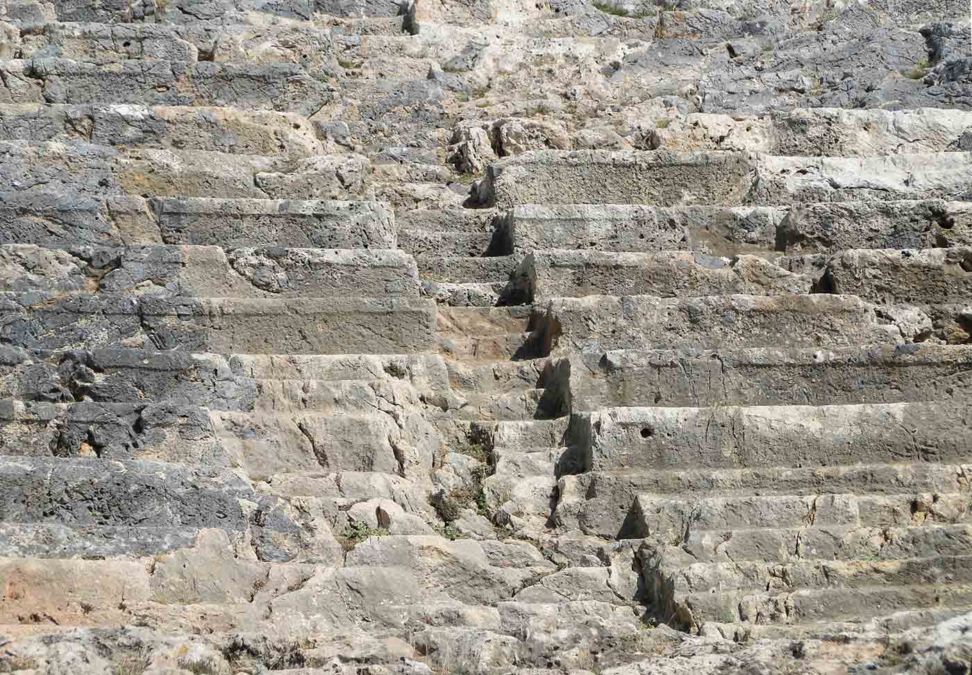 Stairs of the Ancient Greek theatre in Lindos, Rhodes, Greece.