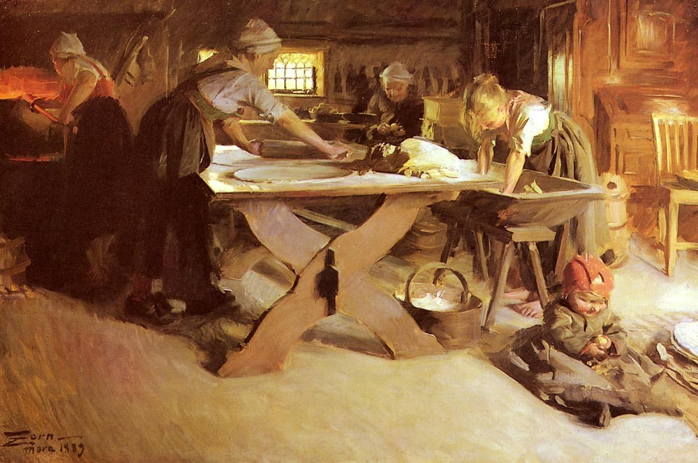 Anders Zorn, Bread Baking, oil on canvas, 1889