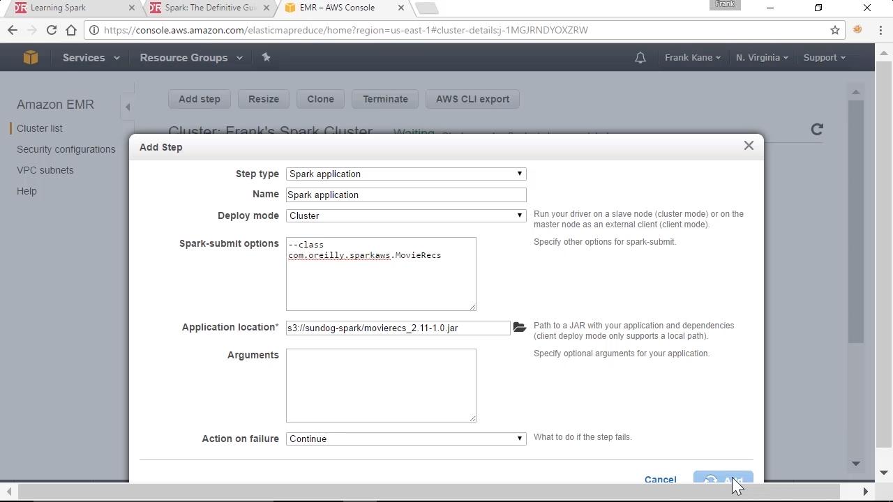 "Screenshot from ""How do I run an Apache Spark script on an Amazon Elastic MapReduce (EMR) cluster?"""