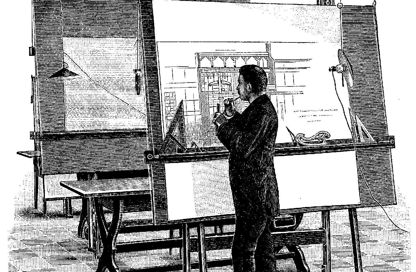 """Architect at his drawing board. This wood engraving was published on May 25, 1893, in """"Teknisk Ukeblad,"""""""