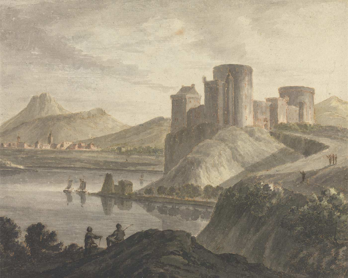 Castle with Figures in a Classical Landscape, by Robert Adam, 1728-1792.