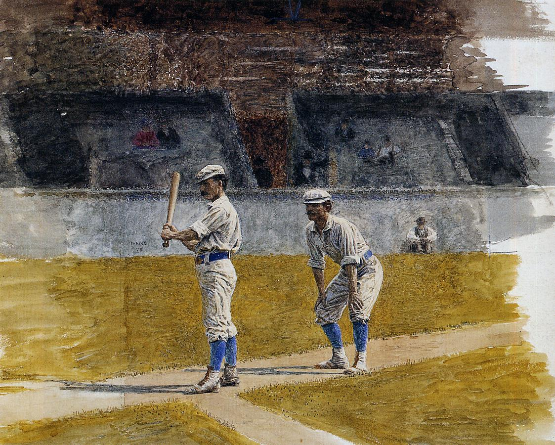"""""""Baseball Players Practicing,"""" watercolor, by the American artist Thomas Eakins."""