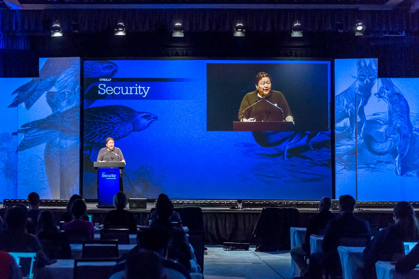 Rebecca Bace speaking at the 2016 O'Reilly Security Conference in New York.