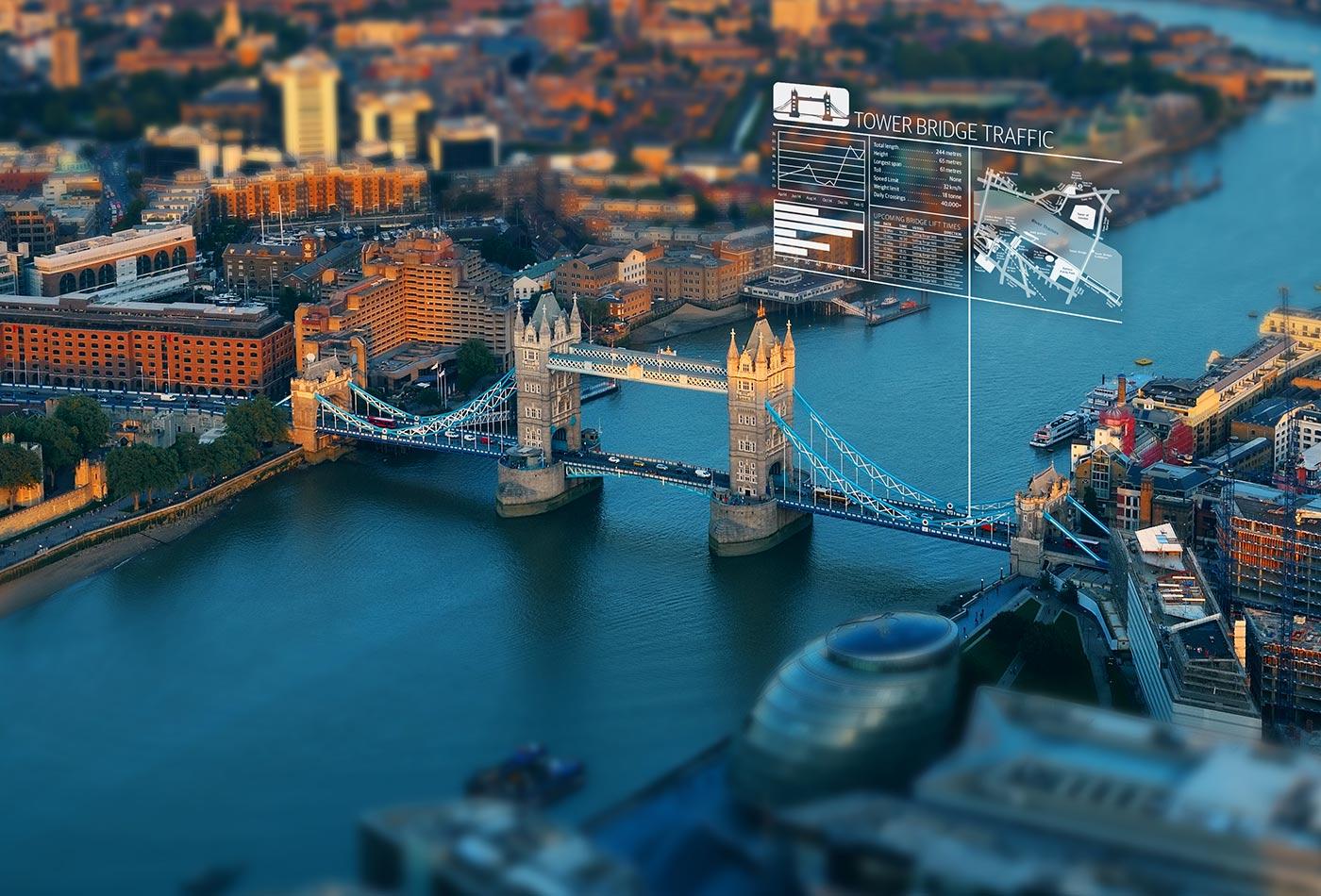 Tower Bridge traffic.