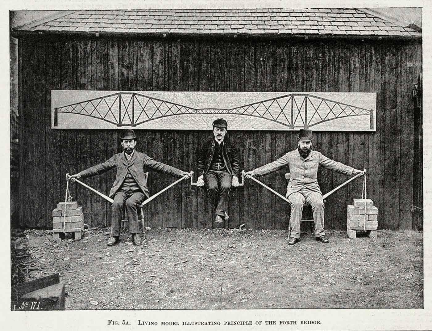 Postcard of Benjamin Baker's human cantilever bridge model.