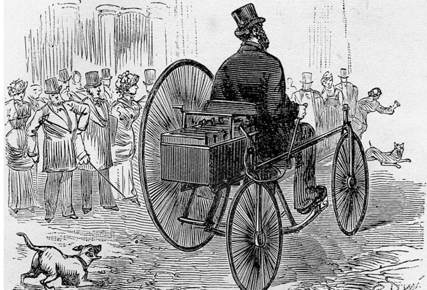 Gustave Trouvé's tricycle, the first ever electric automobile to be shown in public, 1881-1883.