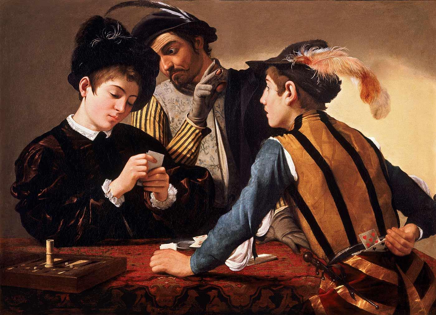 """The Cardsharps,"" by Caravaggio, circa 1595."