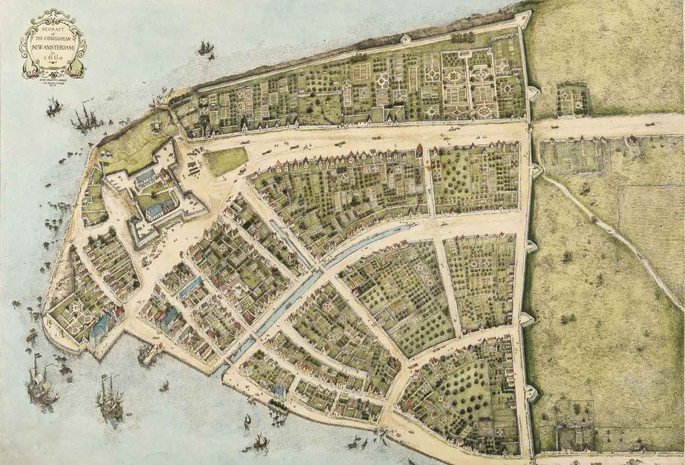 Redraft of the Castello Plan New Amsterdam in 1660.