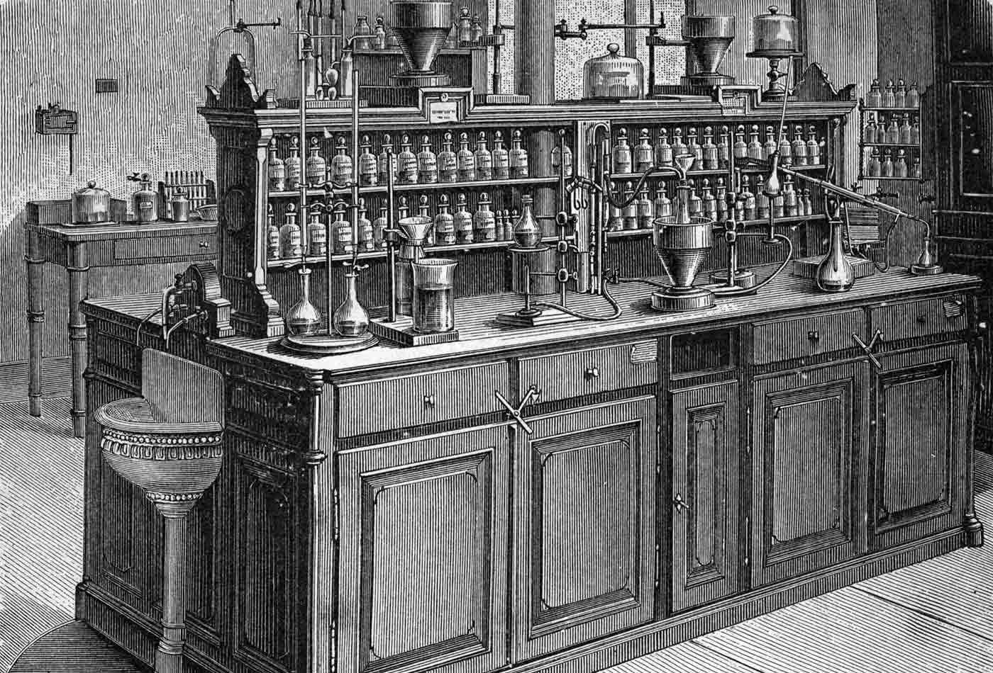 Chemical laboratory at the University of Leipzig, 1894.